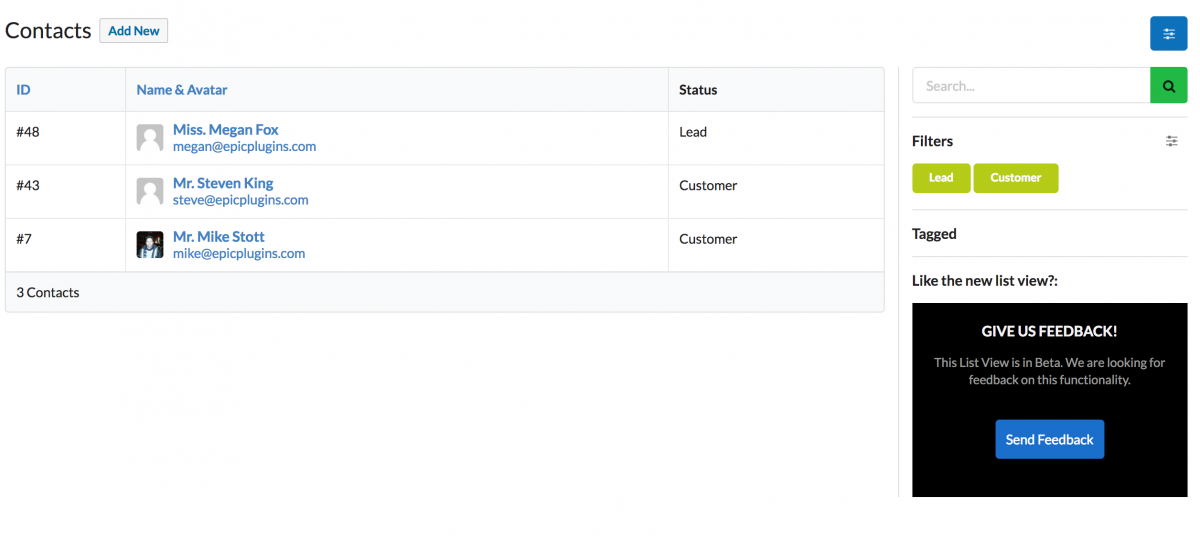 The customers list within ZBS displaying consolidated Give + woo users