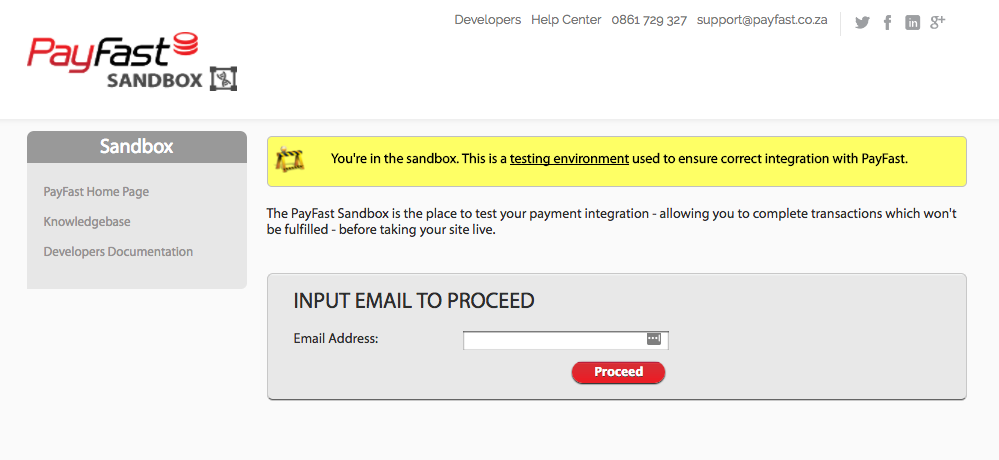 The PayFast sandbox log in page