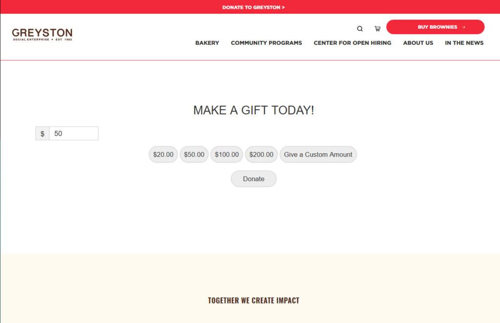 A Greyston online donation form.