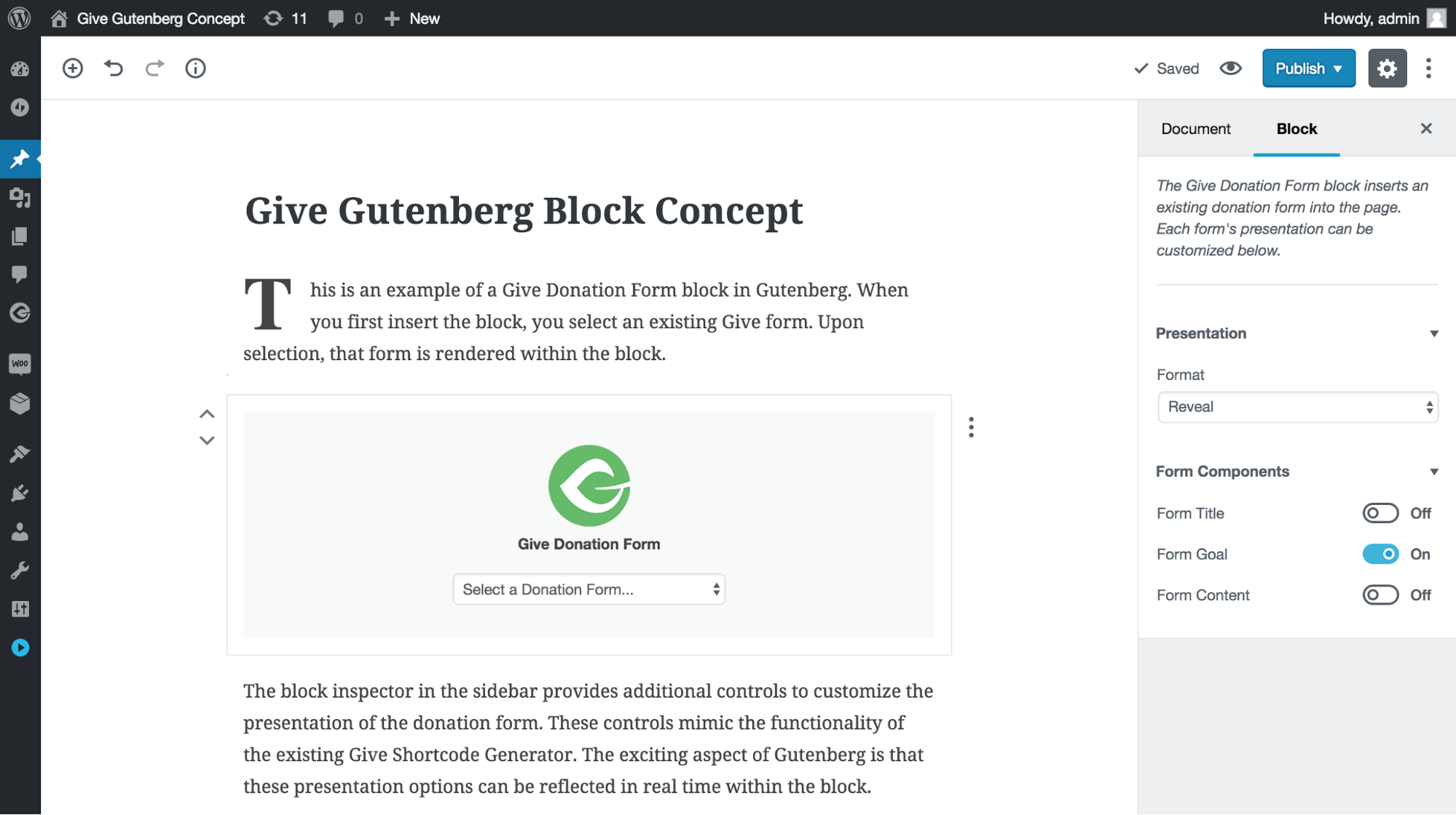 Image of Give Gutenberg Block Concept