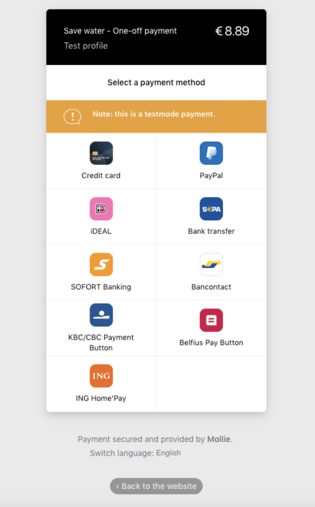 Available Mollie Payment Methods