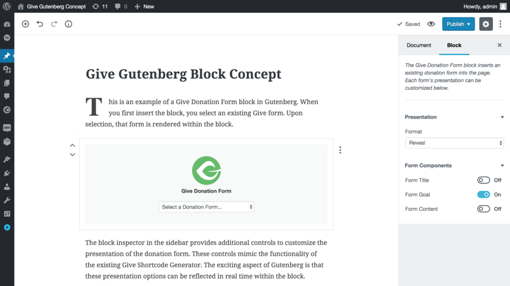 Image shows a placeholder within a Gutenberg post where users choose which Give form they are embedding.
