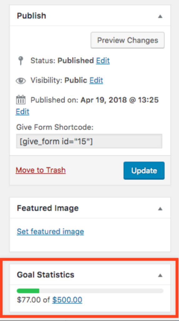 screenshot of the WordPress back end showing a new metabox just below the featured image box. The box is outlined in red for the purposes of this screenshot.