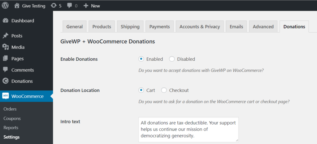 WooCommerce and Give Settings