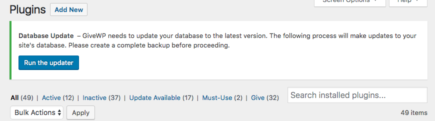 screenshot of an alert on the top of the plugins page in a WordPress back end telling the site admin to update the database.
