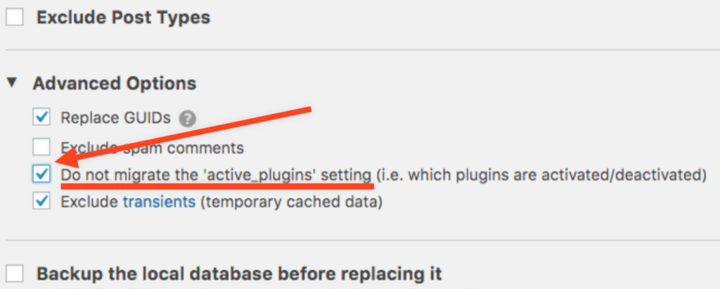 "screenshot of the Migrate DB Pro advanced settings, with the ""Do not migrate the 'active_plugins' setting"" selected"