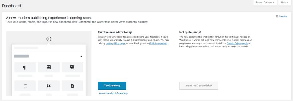Gutenberg callout on WordPress dashboard