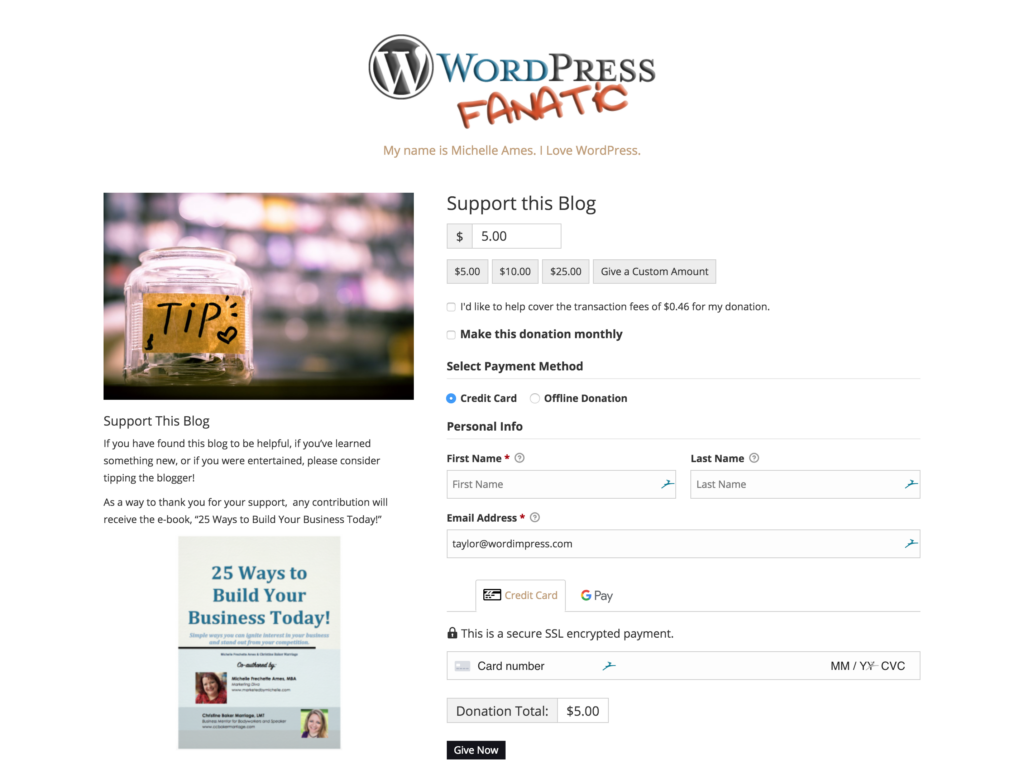 """Give WordPress donation form with a donor gift incentive, downloadable book titled, """"25 Ways to Build Your Business Today"""""""