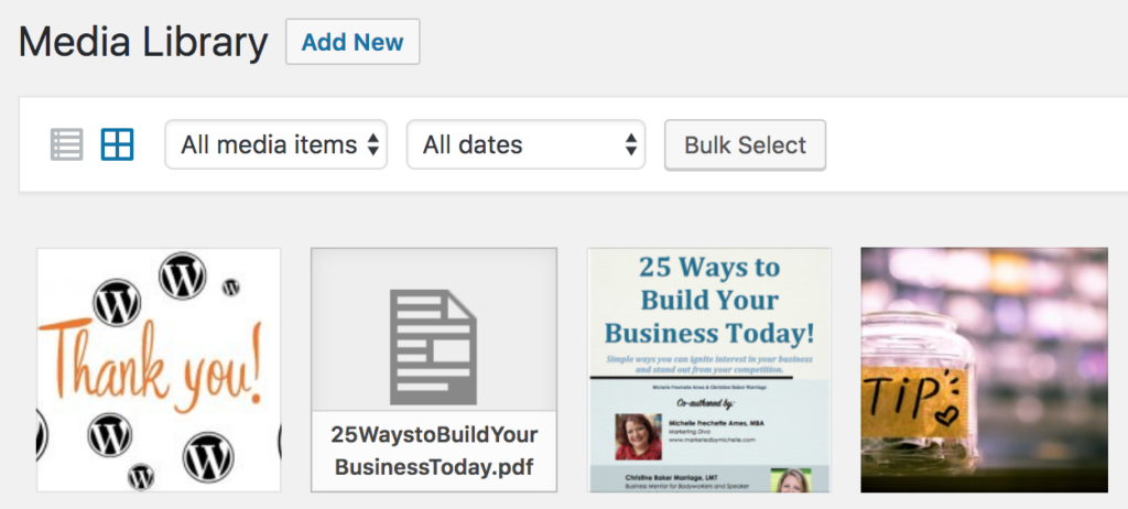 media library on WordPress website with 4 uploads shown. A PDF file is in the middle.