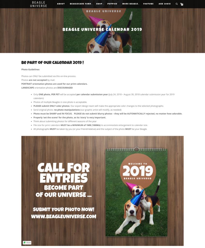 Beagle Universe Calendar Contest Page