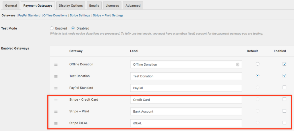 Global Payment Gateway Settings Screen