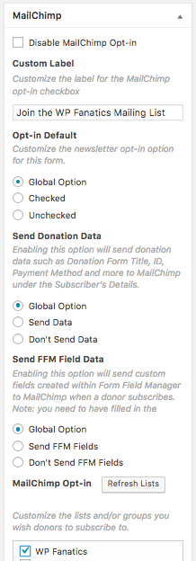 MailChimp Add-on settings