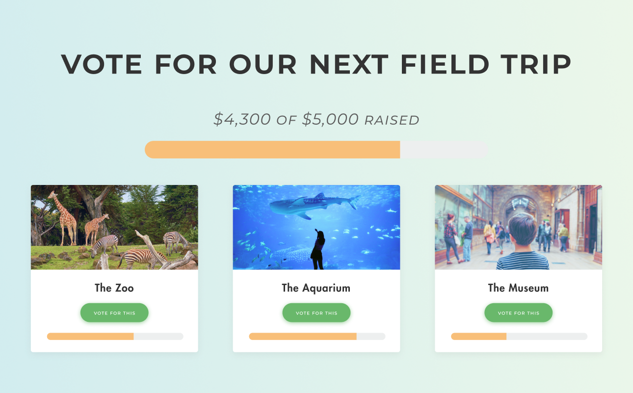 Vote for our next field trip! form example shows that $4300 of $5000 has been raised by three different forms.
