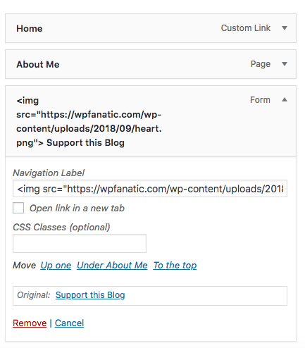 menu settings on wordpress dashboard