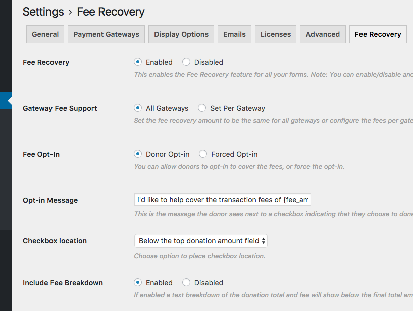 Fee recovery enabled, All gateways, Donor Opt-in, default message, below the top donation amount field, Enabled fee breakdown message