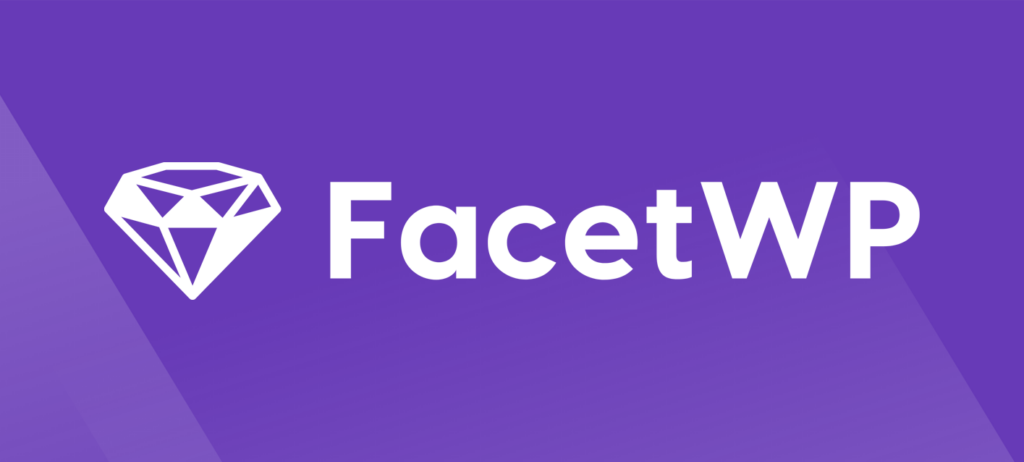 A diamond icon with the word FacetWP, the logo of the FacetWP plugin.