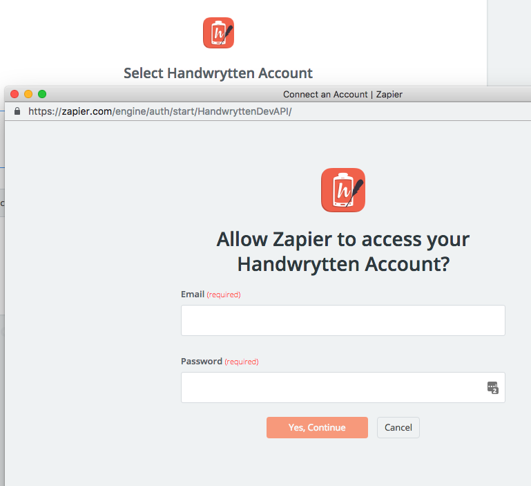 Handwrytten login with zapier