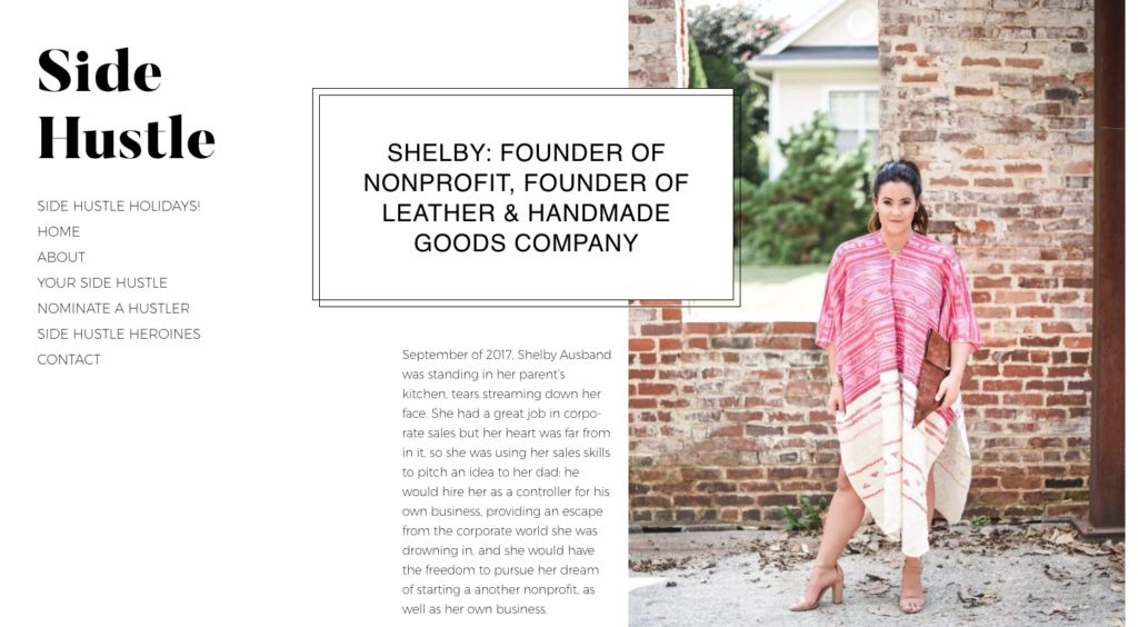 Side Hustle Profile: Shelby, starter of a nonprofit and all around business woman.