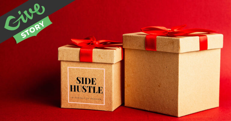 Side Hustle Charity Raffle Featured Image: Gift boxes