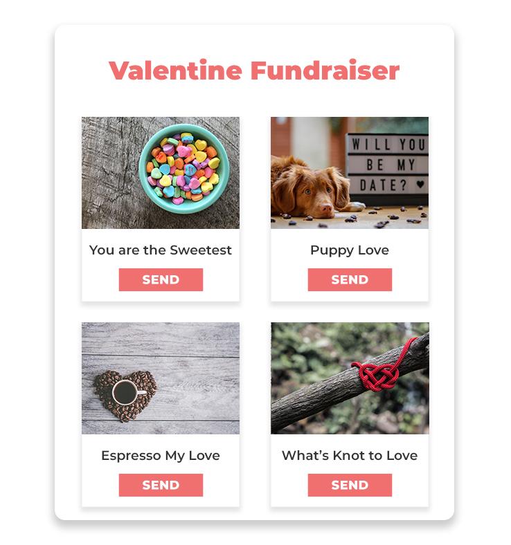 Valentine Cards fundraiser form grid mockup.