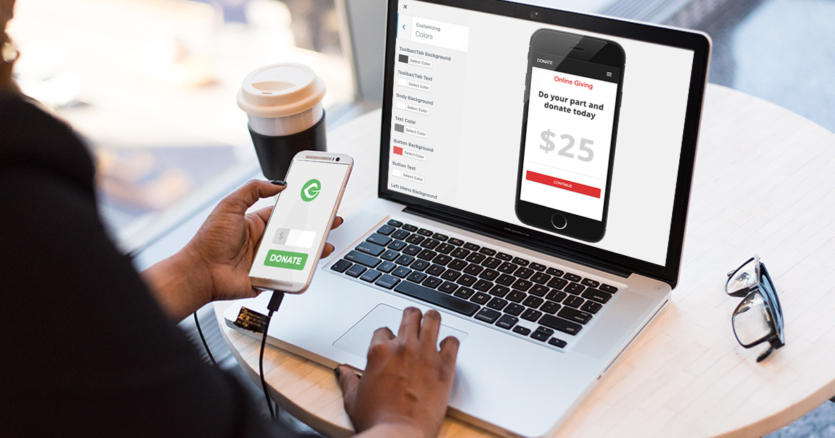 Mobile fundraising app created with an editor similar to the WordPress customizer.