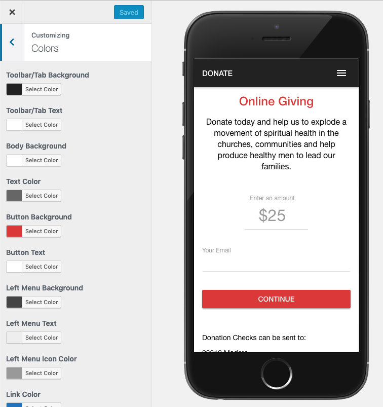 The app builder will display a preview of what your page will look like in your mobile app.