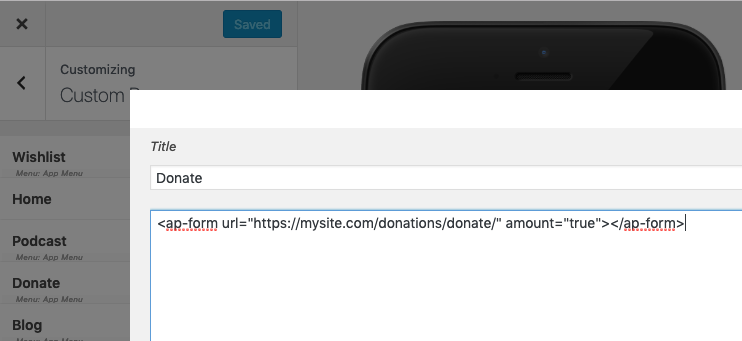 To create a form component in the app, add the title and the form URL to the AppPresser editor.
