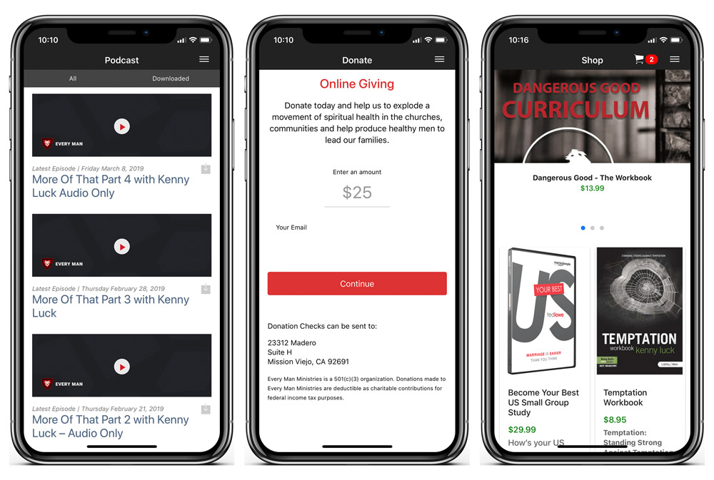 This faith-based organization uses their mobile app to distribute their content and collect donations.