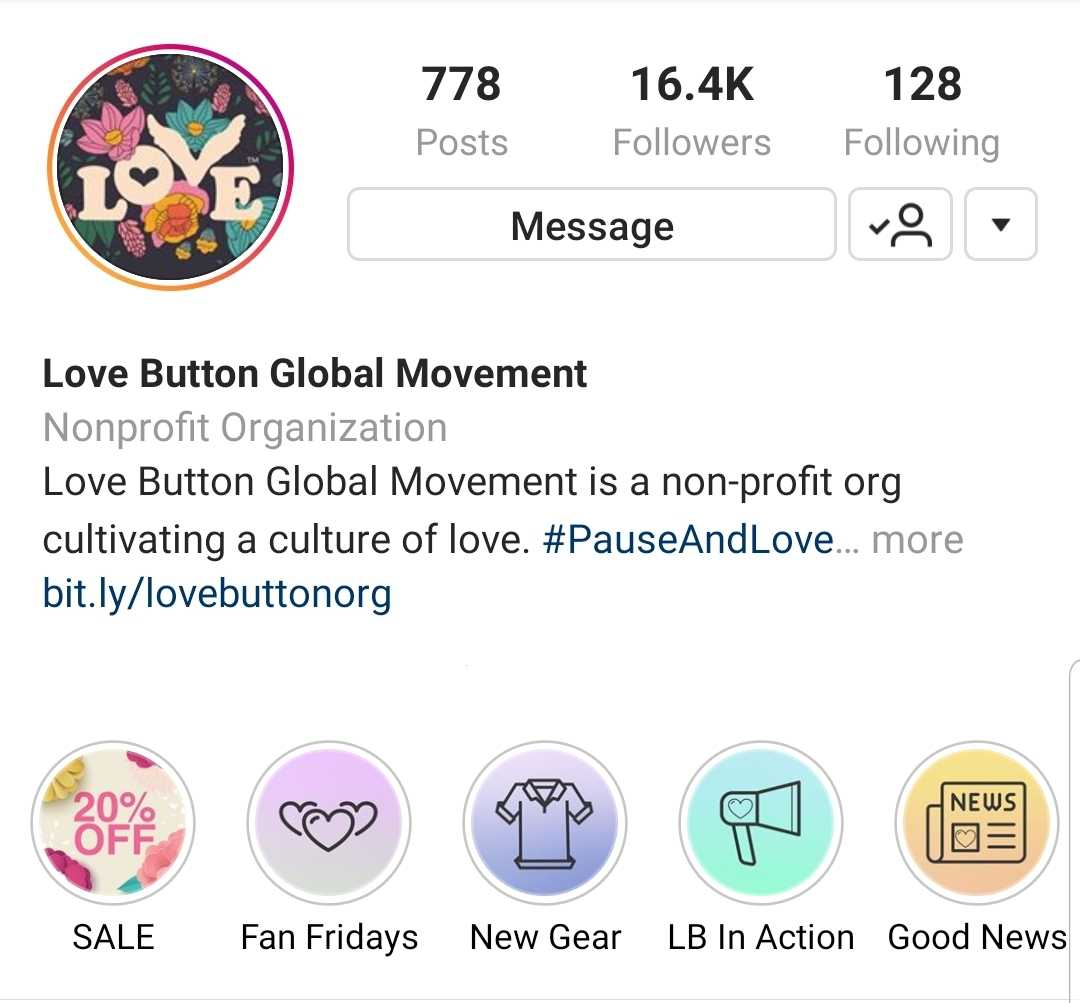 The Love Button Instagram page has 778 posts, 16.4 thousand followers, and follows 128 people. The Love Button Global Movement is a non-profit org cultivating a culture of love. #Pause and Love. Story highlights include: SALE, Fan Fridays, New Gear, LB in Action, and Good News.