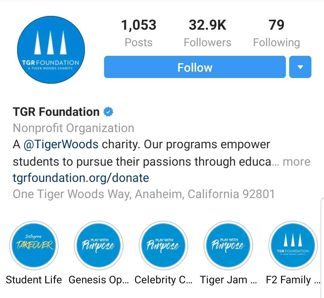 The TGR Foundation page has 1,053 posts, 32.9 thousand followers, and follows 79 people. The TGR Foundation is a Tiger Woods Charity with programs that empower students to pursue their passions through education. Story highlights include Student Life, Genesis Open, Celebrity Cup, Tiger Jam, etc..