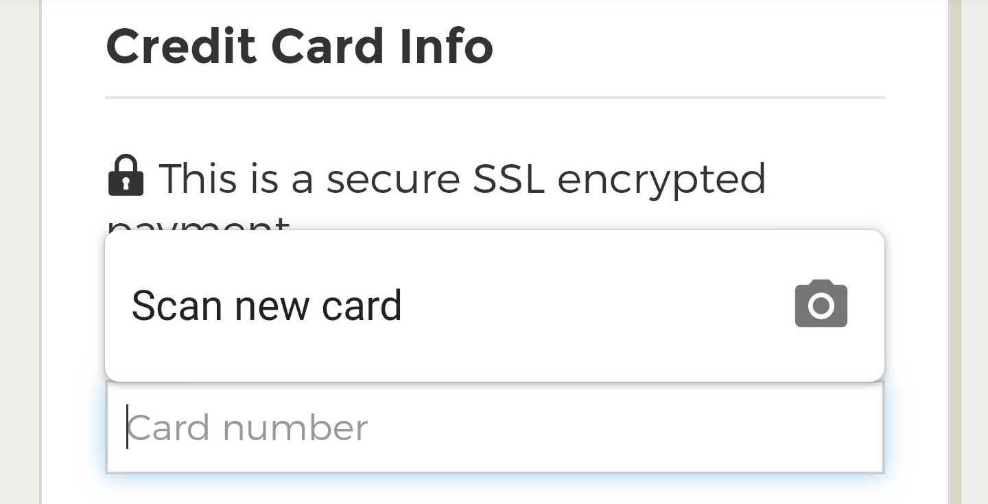 Credit Card Info: Scan New Card.