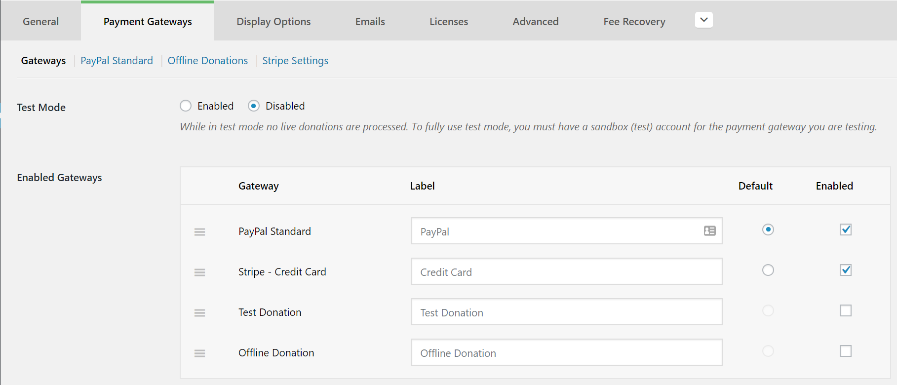 Activate the Stripe payment methods in your global Payment Gateway settings