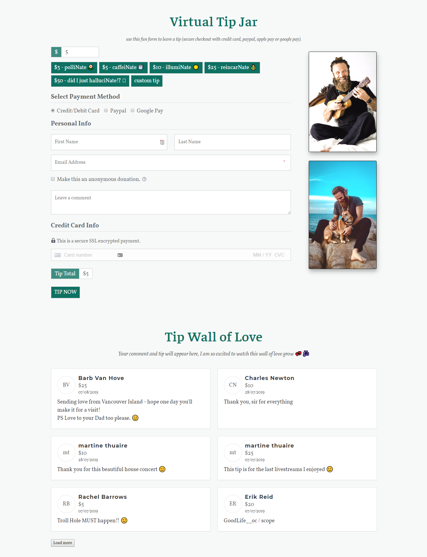 "The Nateives can sign up to give on a form that's customized with ""Nate"" related terms and a Virtual Tip Wall of Love."