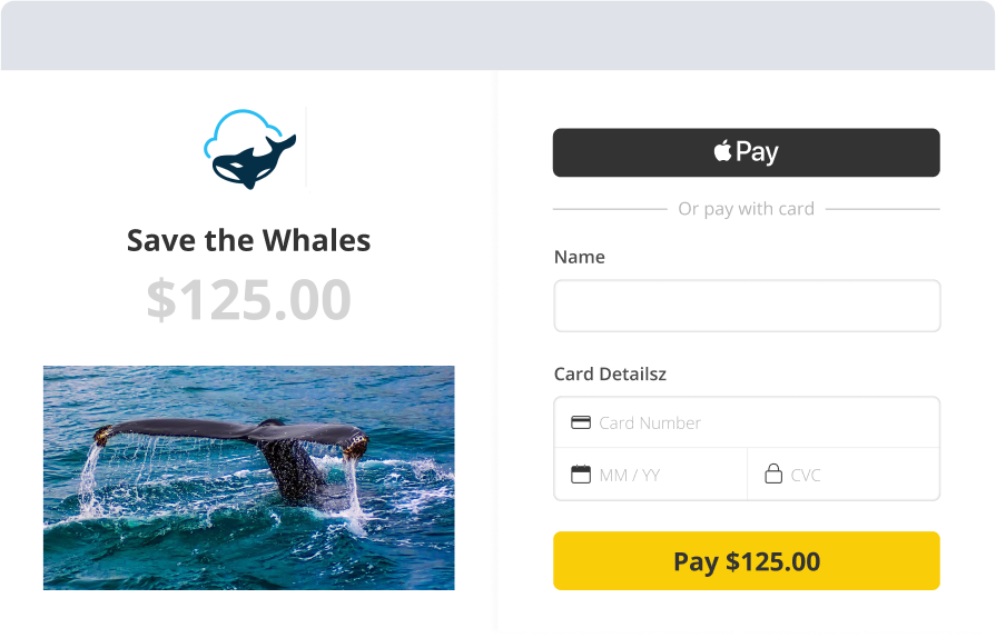 The campaign your donors are giving to is shown on the Checkout screen along with the amount, like this $125 donation to Save the Whales.
