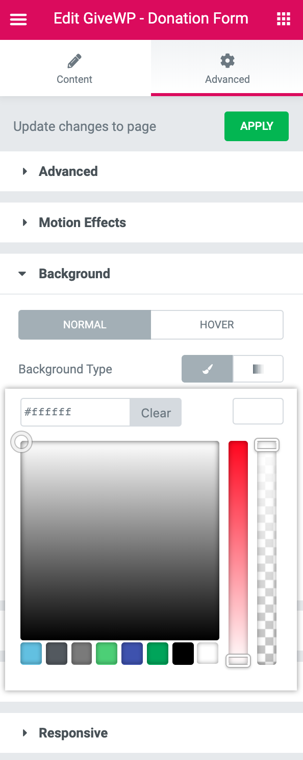 Elementor modules allow you to customize the background and styling directly without going to the WordPress Customizer CSS Section.