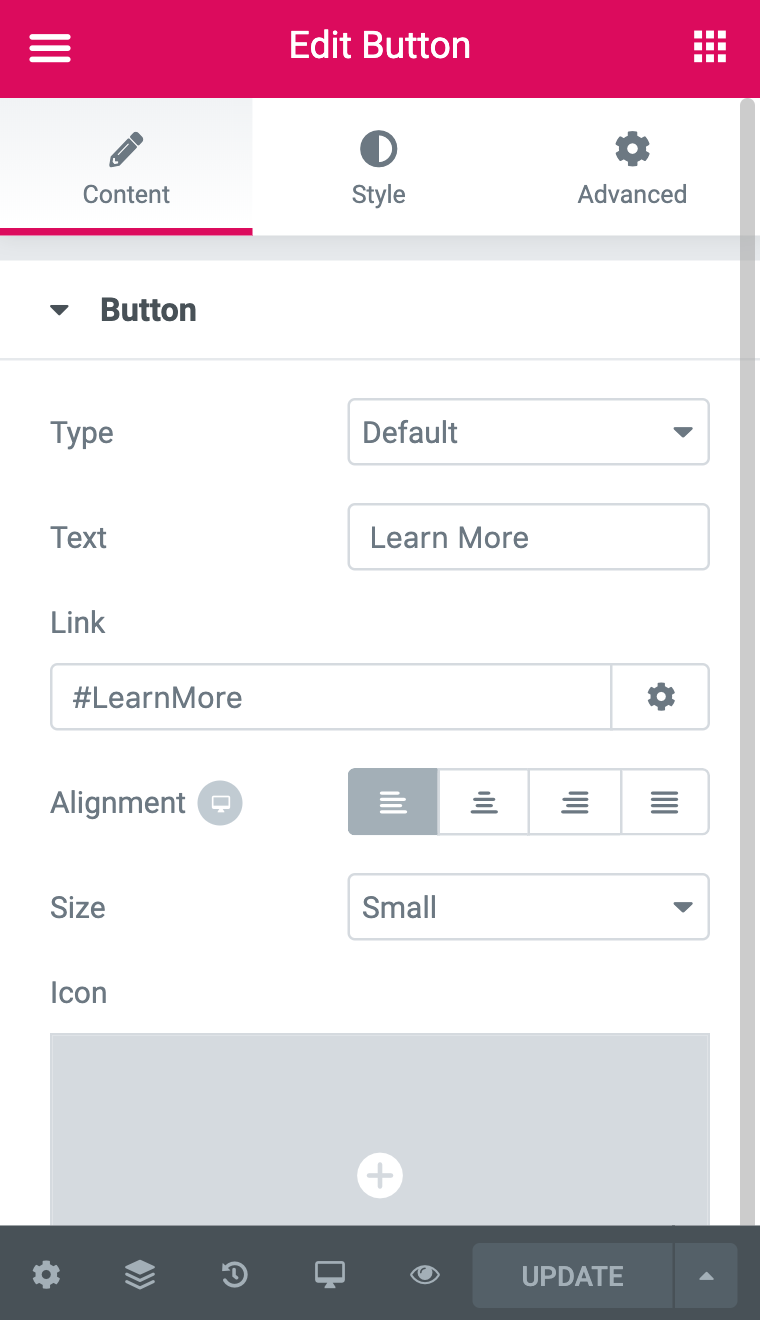#LearnMore is an anchor tag link that can be used in place of a hyperlink for a button.
