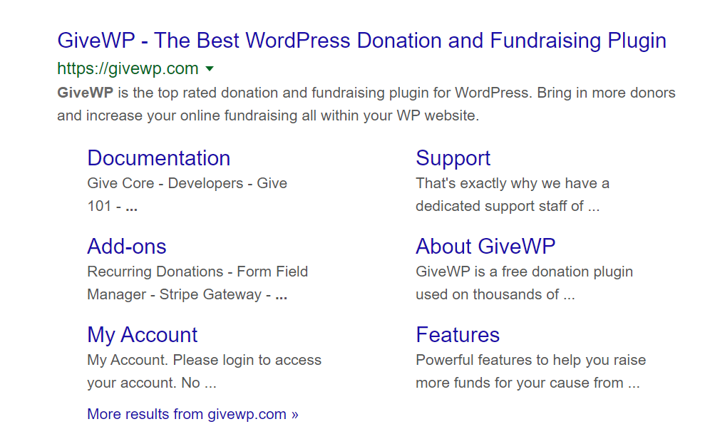 The GiveWP Google Search results display show the entire website structure and the main description for the website as well as each website section.