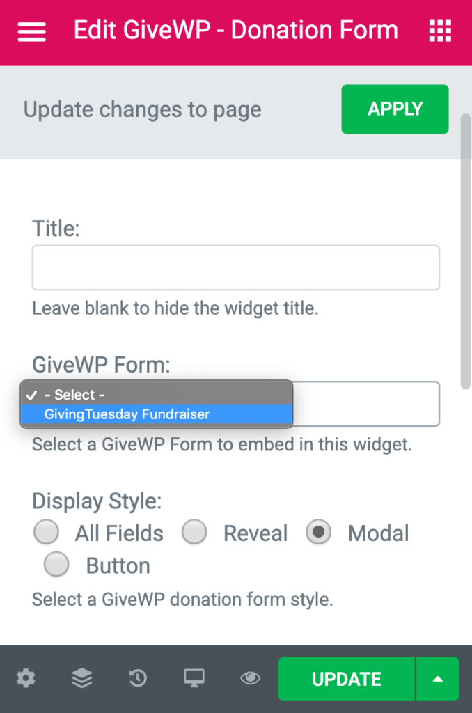 In the section editor panel, choose your form and the display style.