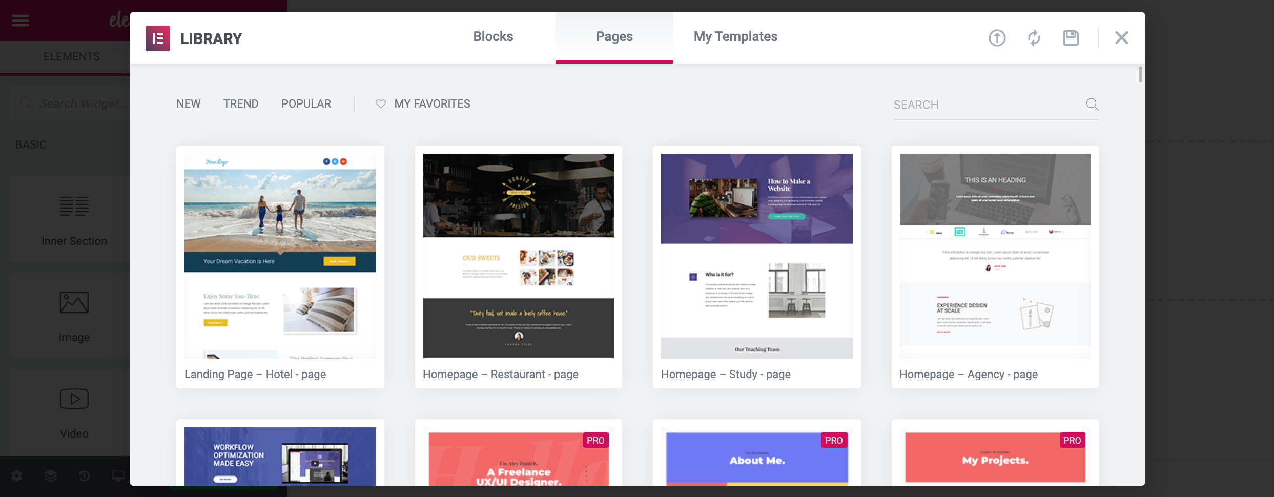The Elementor Library can be filtered by blocks, pages, and your selected templates. You can also sort by new, trending, and popular.