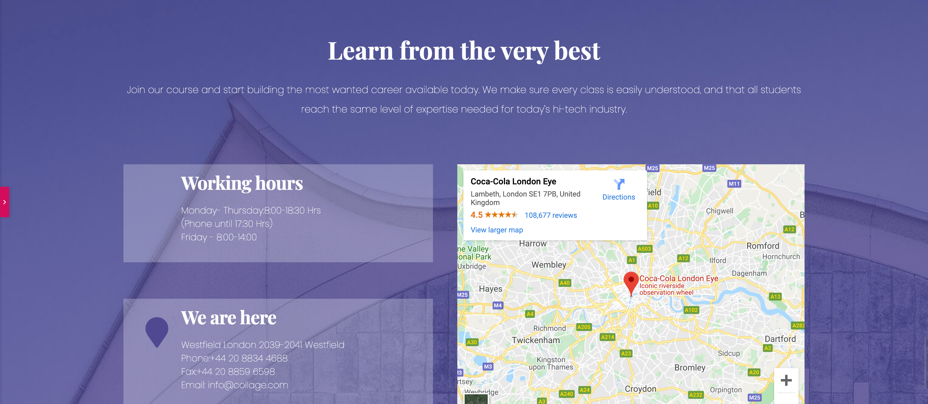 Our template starts out with a Google Map embed, working hours, and contact information.