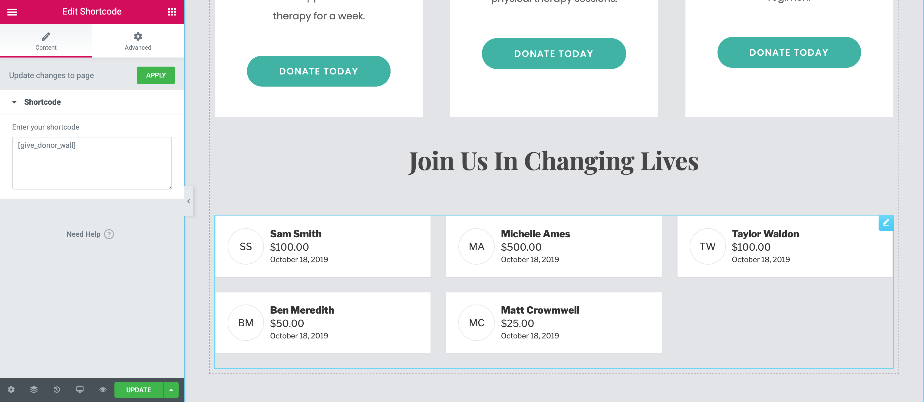 Your donor wall will show people who have given, how much they donated, and any comments they left.