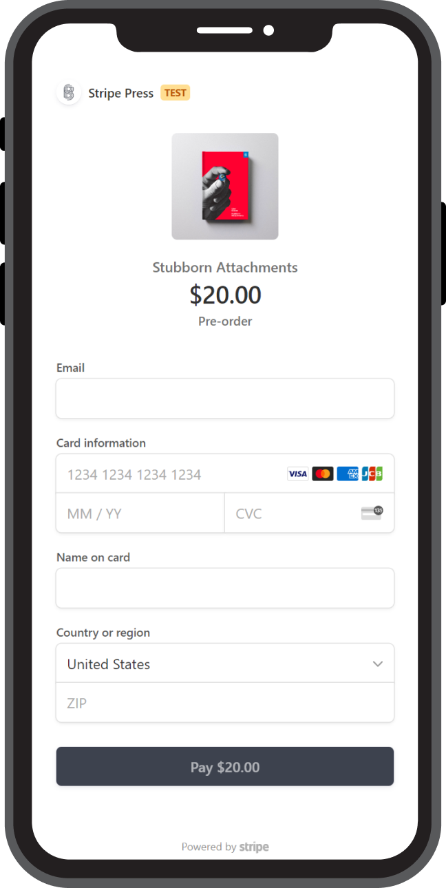 "Stripe Checkout 2.0 forms take up the entire mobile device screen, telling you what you're paying for and providing fields for payment information. At the bottom, it says ""Powered by Stripe."""
