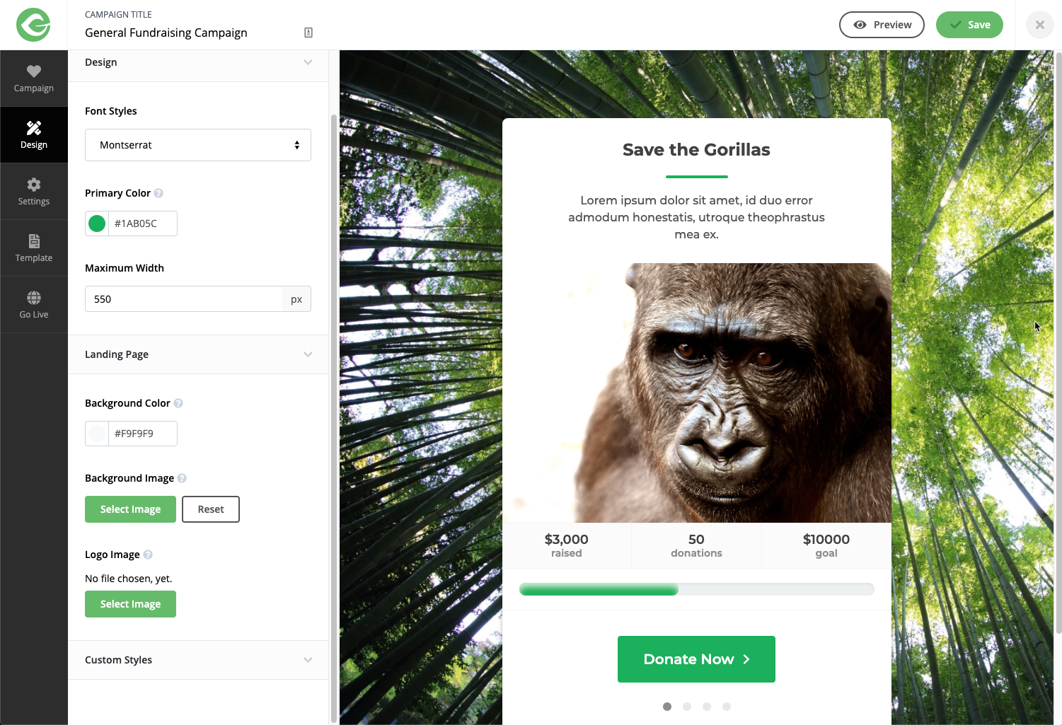 Final Save the Gorilla form with a tree backdrop behind a donation form. The form editor is off to the left side of the screen in a menu bar.