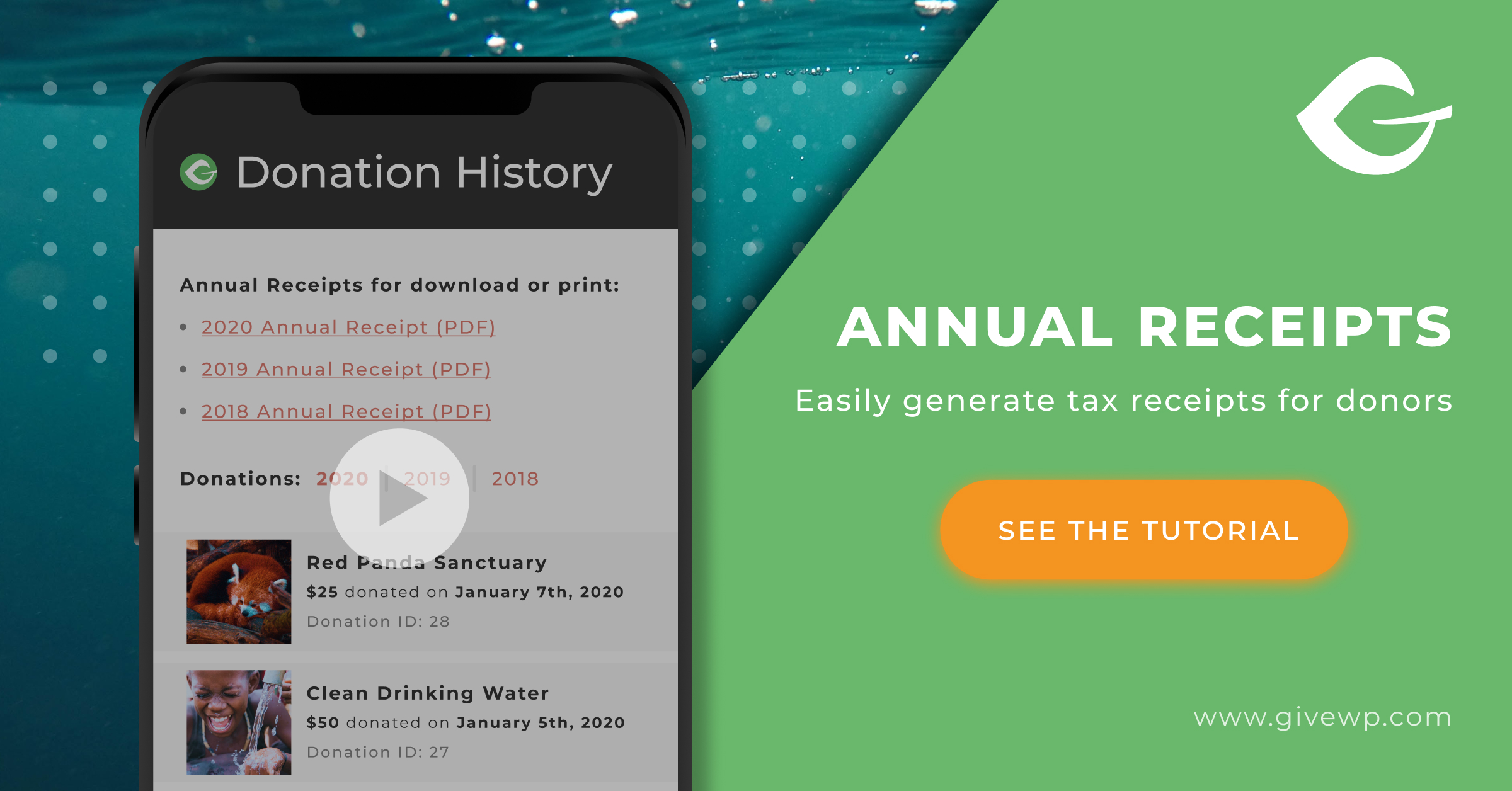 Great for promoting the Annual Receipts video tutorial available on the Annual Receipts conversion article.