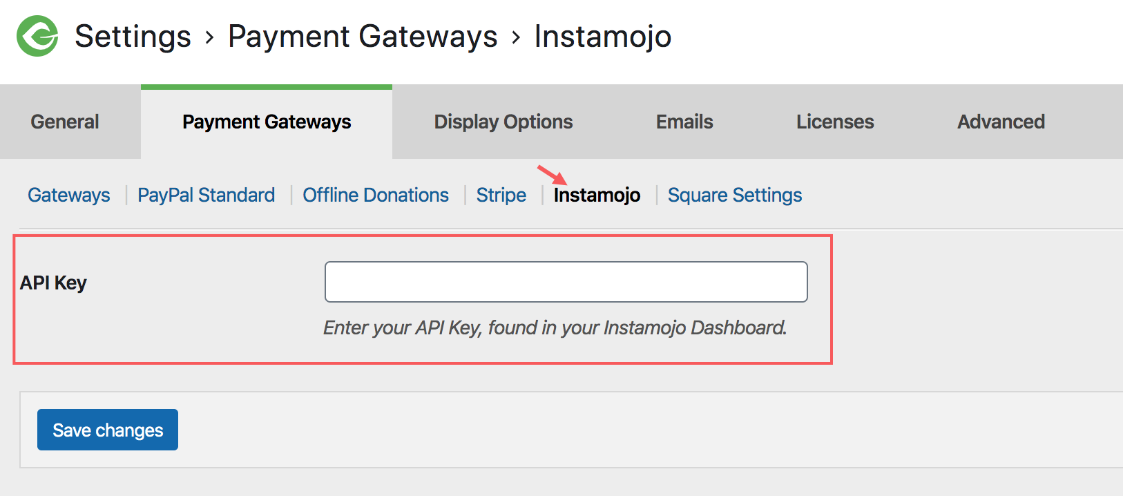 screenshot highlighting the new Instamojo section on the Payment Gateways tab.