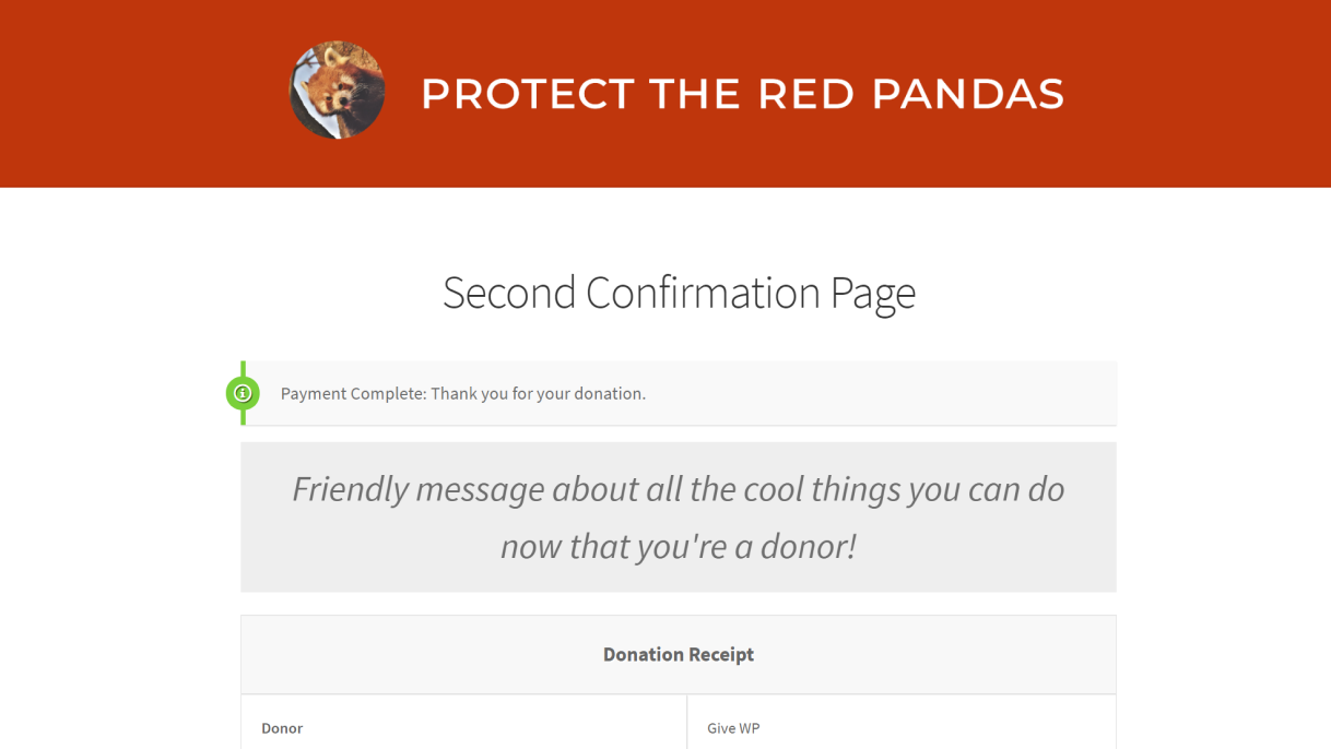 A Second GiveWP donation form confirmation page has been customized with friendly messaging about all the cool things you can do now that you're a donor.
