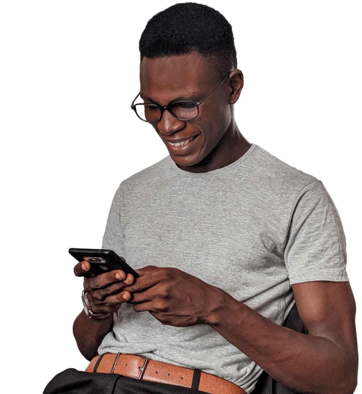 Man looking at his phone happy that he's getting support responses.
