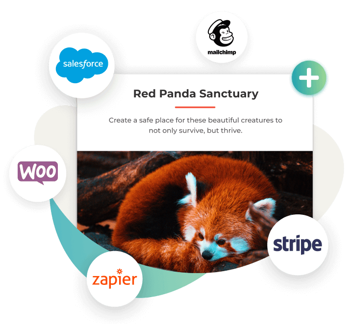 GiveWP add-ons include MailChimp, Salesforce, Zapier, WooCommerce, and Stripe.