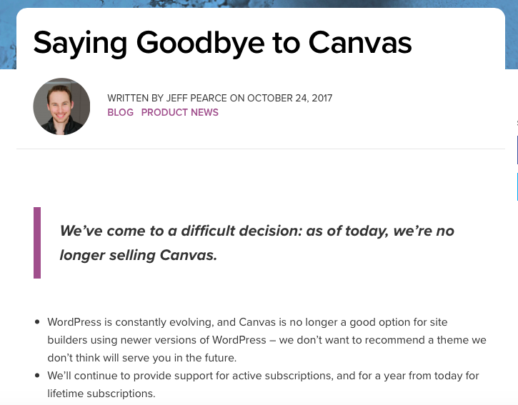 """Saying Goodbye to Canvas annoucnement: """"We've come to a difficult decision: as of today, we're no longer selling Canvas"""""""