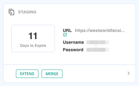 Staging site controls with 11 days until they expire and options to extend or merge